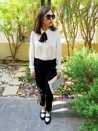 White Blouse With Black Bow Gingham And Sparkle One Way To Wear The Very Versatile Bow Blouse