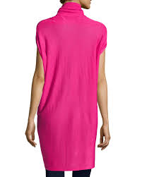 Neiman Marcus Drapes Neiman Marcus Drape Front Short Sleeve Cardigan In Pink Lyst
