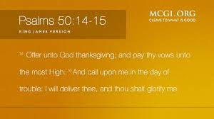 mcgi org on offer unto god thanksgiving and pay thy vows