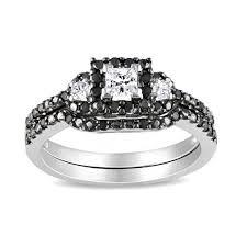 black bridal sets mesmerizing black and white diamond wedding ring set 1 carat