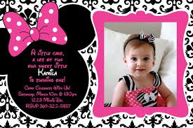 Birthday Invitation Cards For Kids First Birthday Minnie Mouse First Birthday Invitations Kawaiitheo Com