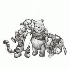 the original winnie the pooh drawing without adding colour i used