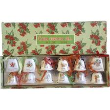 12 christmas bell ornaments japan mid century ceramic with