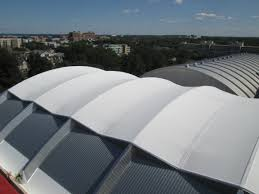 Insulation Blanket Under Metal Roof by Insulated Tensioned Membrane Fabric Membranes Birdair Inc