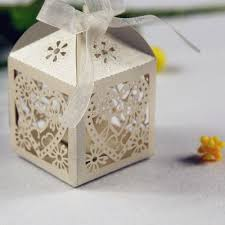 wedding party favor boxes white heart floral cut wedding favor box ewfb035 as