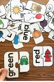 free printable color word match puzzles simply kinder