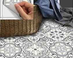 Gray Floor Bathroom - tile stickers waterproof removable wallpaper by snazzydecal