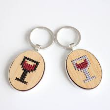 wine glass keychain wine glass cross stitch keychain kit with bamboo wood modern