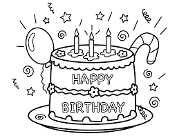 birthday cake with balloon and candy cane coloring pages for kids