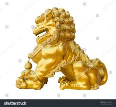 gold lion statue gold lion statue on white background stock photo 333200519