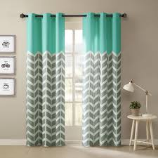 Gray And White Chevron Curtains by Top Of The Panel Features Solid Bright Yellow Aqua For A