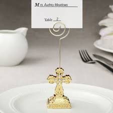 gold cross place card holder favors