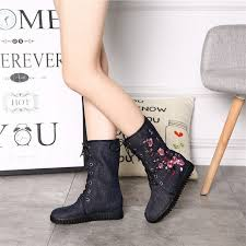 motorcycle booties autumn winter plum embroidered women casual canvas mid top boots