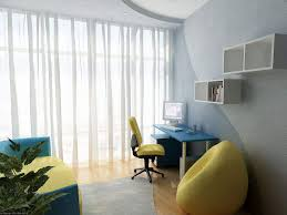 minimalist study room with blue desk yellow chair and white