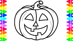 happy halloween coloring learning draw pumpkin coloring