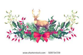 Christmas Decorations With Deer by Christmas Watercolor Garland Holiday Vintage Style Stock