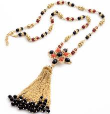 trendy flower necklace images Trendy black beads flower gold long tassel pendant necklace jpg
