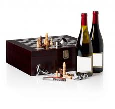 buy vintage wooden chess board game wine gift set with wine opener