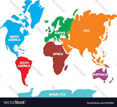 map continents world map with continents royalty free vector image