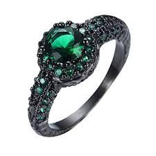 green gemstone rings images Junxin green gemstone emerald halo rings black gold jpg