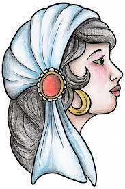 old drawings old style gypsy woman tattoo design