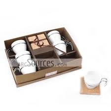 coffee gift sets wholesale coffee cup set of 6 cups with metal handle wooden