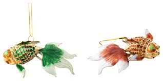 cloisonne fantail goldfish ornaments set of 2 traditional