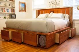 California King Size Platform Bed Frame - king size light brown lacquered oak wood bed frame with storage
