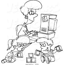 vector of a cartoon woman working on her computer as her kids play