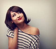 happy short hair makeup woman thinking and looking up vintage
