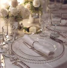 silver wedding plates glass with silver beaded edge charger rental for your party