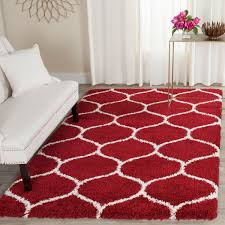 Safavieh Furniture Outlet Store Red U0026 White Tile Patterned Shag Hudson Shags Safavieh