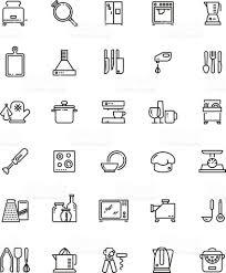 pictogramme cuisine cuisine ligne les outils et appareils de cuisine vector icons