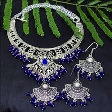 necklace designs silver images German silver blue tribal necklace with earrings jpg