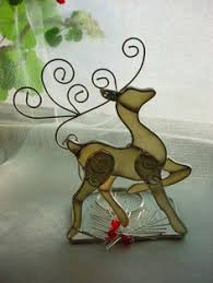 stained glass santa and reindeer 3 set real glass ebay