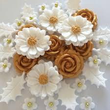 white gold christmas bouquet edible sugar paste flowers cake