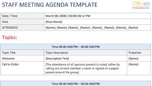 sample staff meeting agenda template dotxes