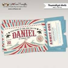 printable vintage circus or carnival birthday ticket invitation
