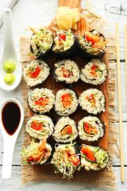 sriracha mayo sushi brown rice sushi minimalist baker recipes