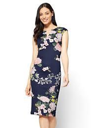 sheath dress ny c split neck sheath dress navy floral
