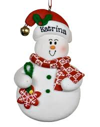 snowman with snowflake personalized ornament