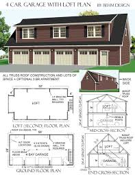 3068 5 58 x 28 4 car garage plan with loft behm garage plansbehm