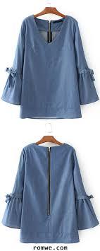 denim blouses blue v neck tie detail zipper back denim blouse blouses black