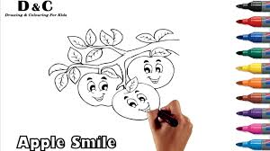 coloring pages apple fruit how to draw u0026 color learning videos
