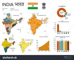 Religion World Map by Infographics India Demographic Statistics Religion Languages Stock