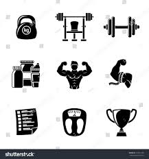 martini shaker clip art set bodybuilding icons dumbbell weight bodybuilder stock vector