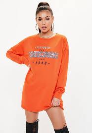 yellow sweater dress orange chicago graphic print oversized sweater dress missguided