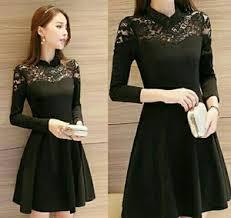 dress pesta mini dress pesta wanita kombinasi bahan brukat warna hitam model