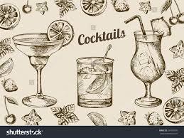 vintage cocktail set hand drawn sketch set alcoholic cocktails stock vector 424399105