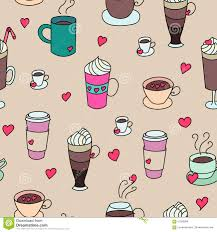 Cute Cup Designs Coffee Cups Colorful Cute Seamless Pattern Stock Illustration